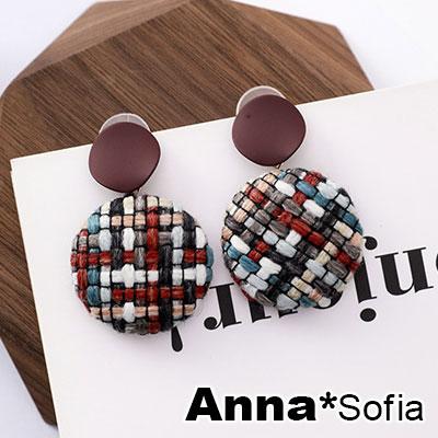 【3件5折】AnnaSofia 不規則圓弧釘彩格呢 大型耳針耳環(酒紅彩系)