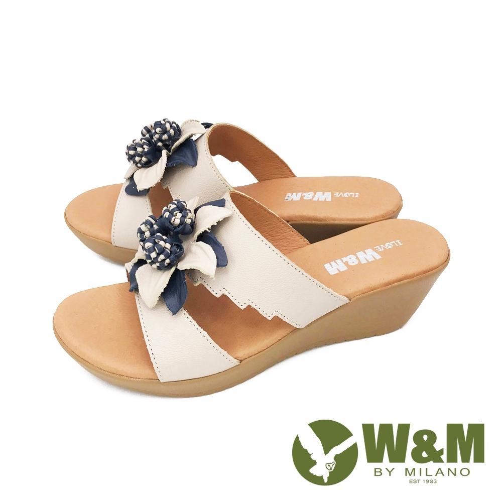 W&M (女) 大花楔型厚底彈力涼拖鞋 女鞋 -米(另有黃)
