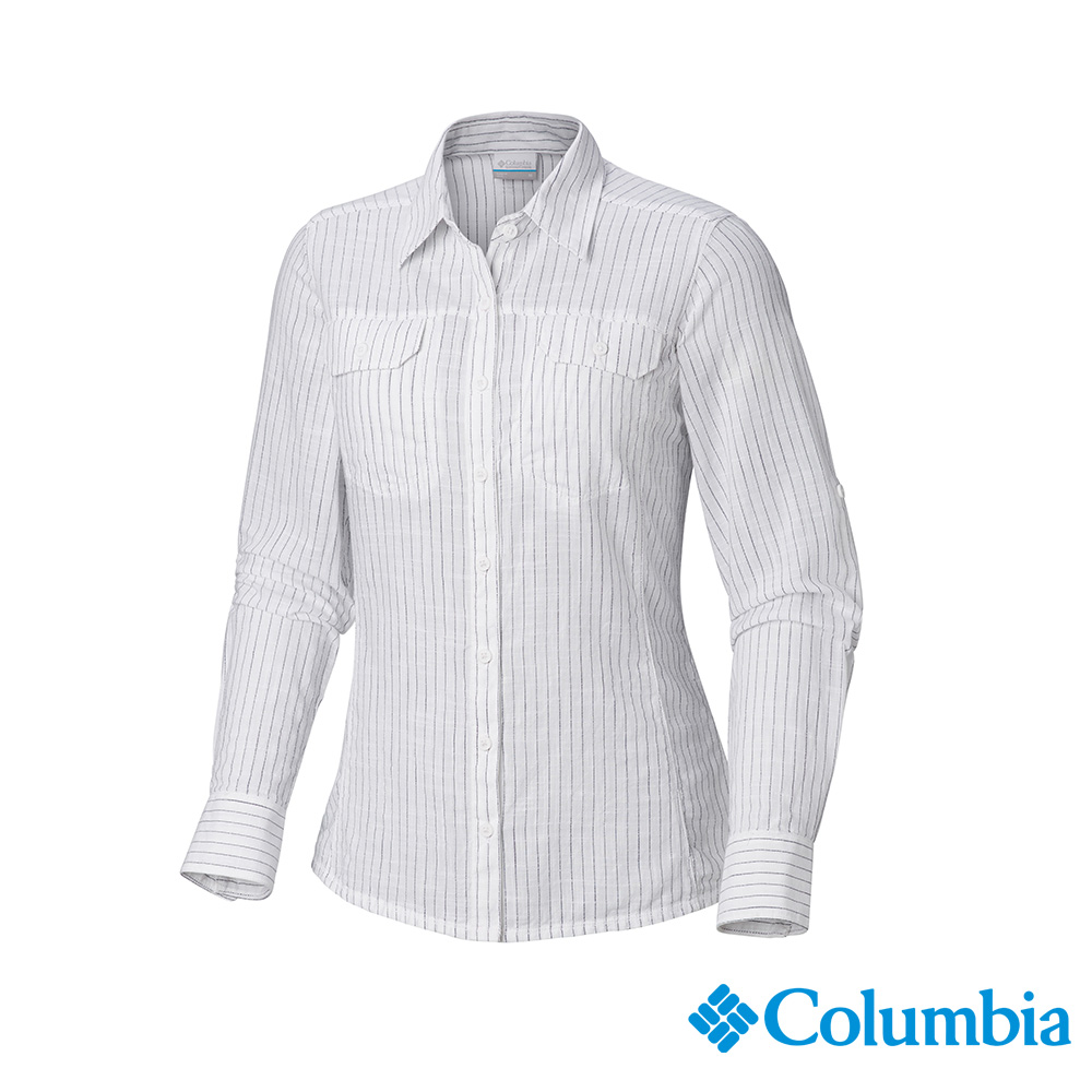 Columbia 哥倫比亞 女款-純棉長袖襯衫-藍色條紋 UAL79900UT