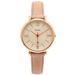 FOSSIL 粉色優雅復古風的皮革女性手錶(ES3487)-淡香檳色面/35mm