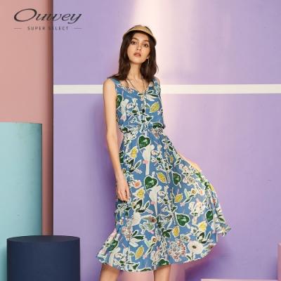 OUWEY歐薇 渡假風印花背心洋裝(藍)