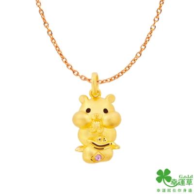 幸運草金飾 黃金鼠黃金/水晶墜子 送項鍊