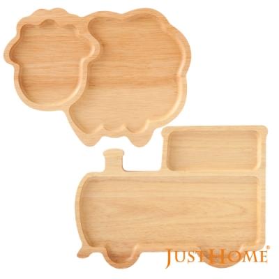 Just Home台灣製樂趣生活橡膠木造型餐盤2件組/卡通托盤/兒童餐盤(超值原木餐盤組合)