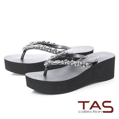 TAS立體水鑽人字厚底楔型夾腳拖鞋-時尚黑