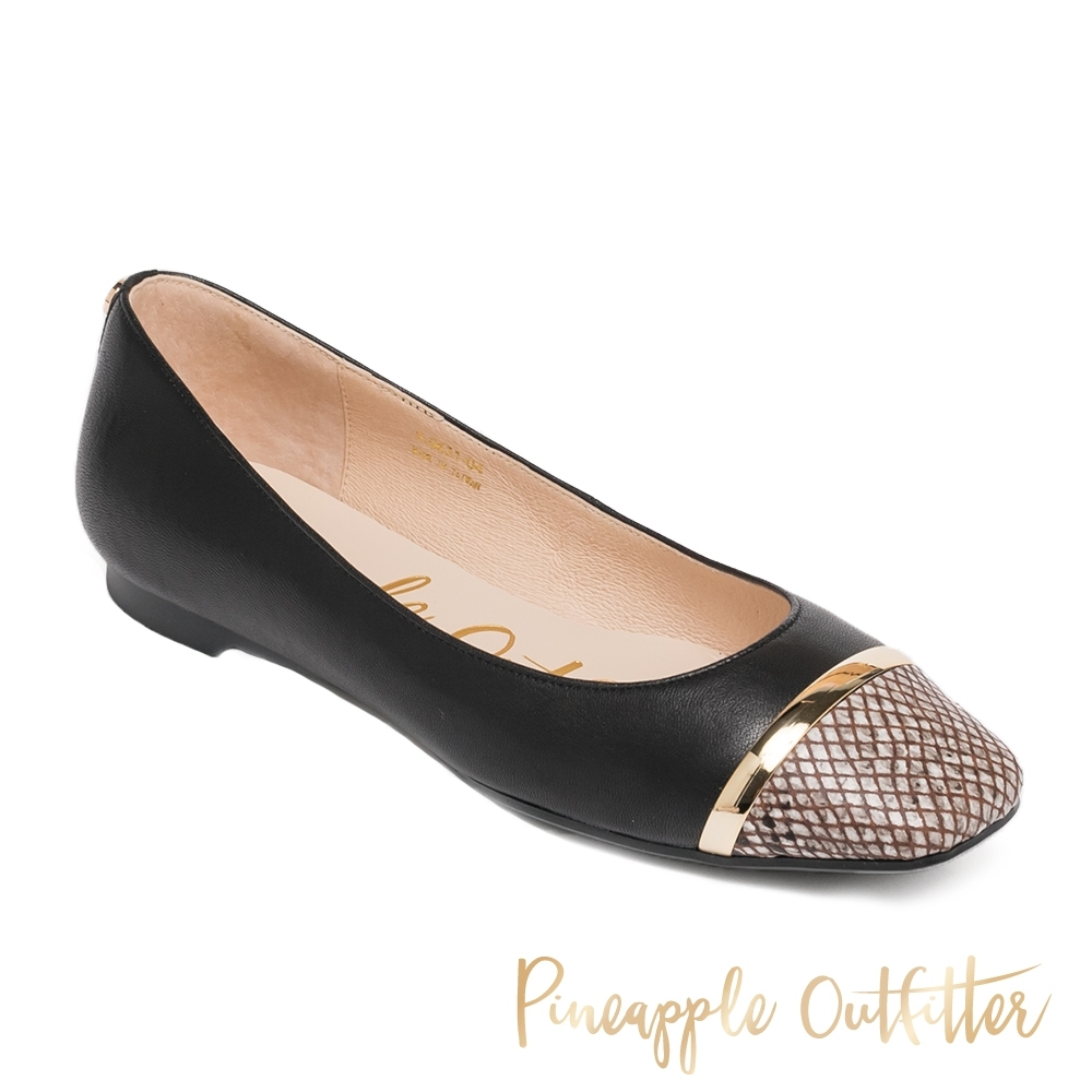 Pineapple Outfitter-FLAVIA 潮流真皮拼接蛇紋娃娃平底女鞋-黑色