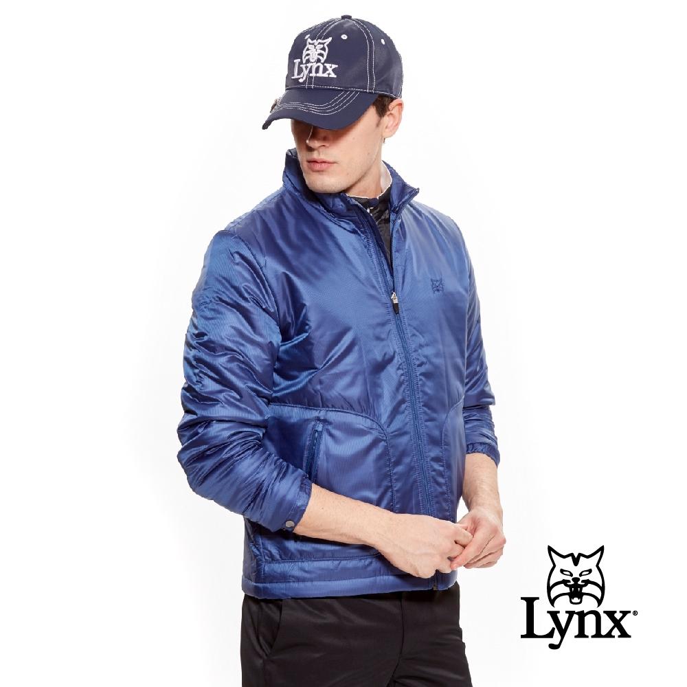 【Lynx Golf】男款日本進口布料口袋造型鋪棉長袖外套-藍色