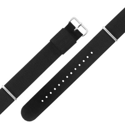 Watchband DW 各品牌通用 不鏽鋼扣頭 尼龍錶帶-黑色