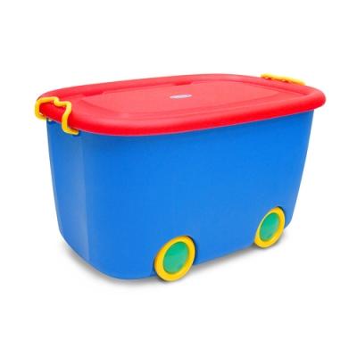 WallyFun 可掀蓋兒童玩具/衣物收納整理箱45.5L (帶滑輪)