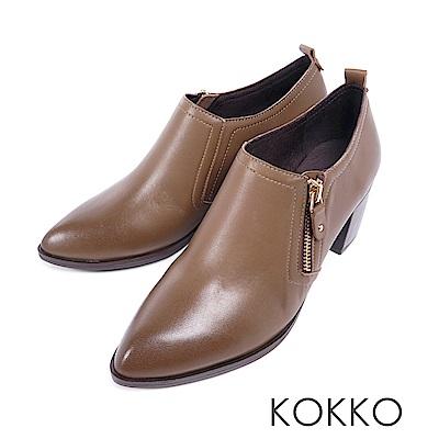 KOKKO - 窗邊閱讀尖頭拉鍊真皮粗跟踝靴-品味咖
