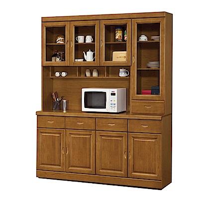 綠活居 尼圖曼時尚5.3尺實木餐櫃/收納櫃組合(上+下座)-160x44x205cm-免組