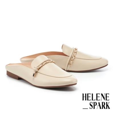 穆勒鞋 HELENE SPARK 個性金屬鏈帶全真皮低跟穆勒拖鞋-米