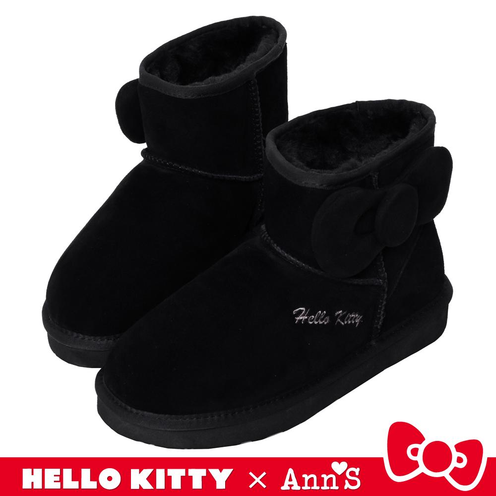 HELLO KITTY X Ann'S側邊立體澎澎大蝴蝶結短筒真皮雪靴-黑