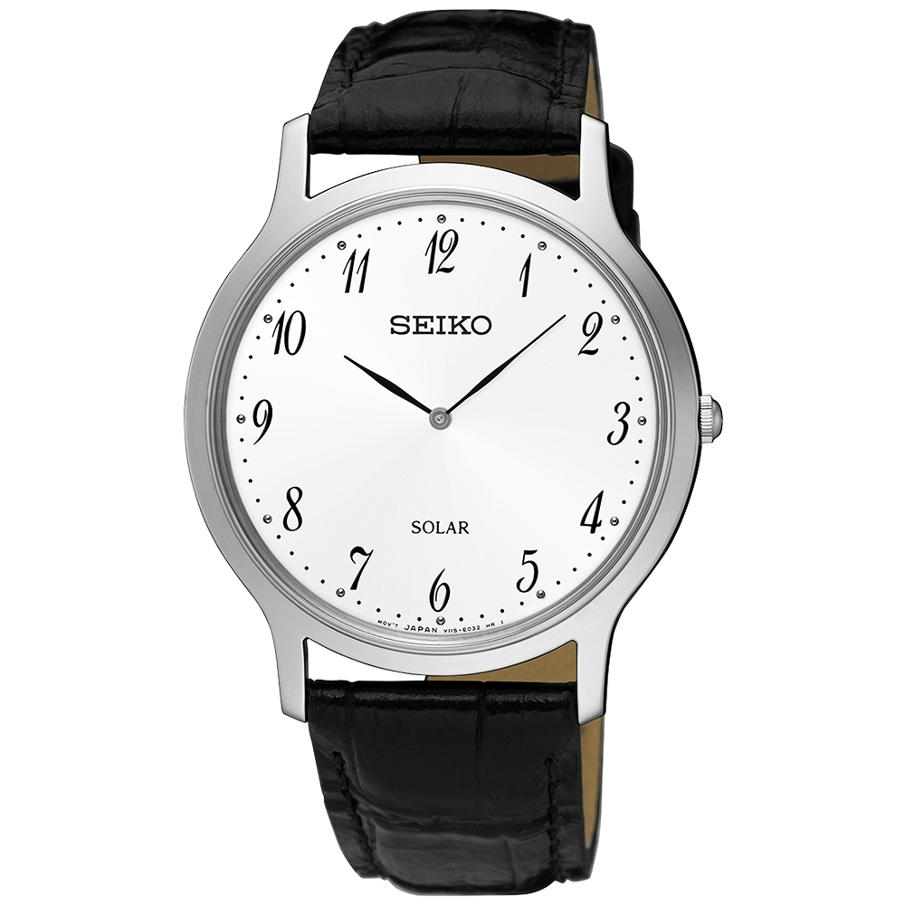 SEIKO精工   簡約爾雅超薄太陽能石英腕錶(SUP863P1)-白x38mm