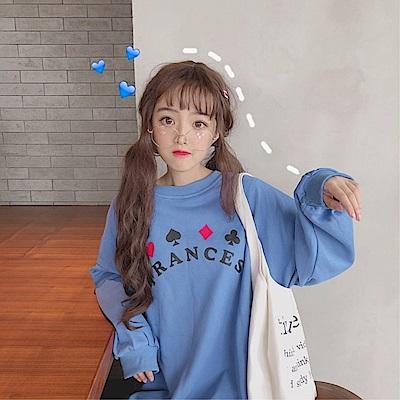 DABI韓國風寬鬆百搭印花長袖上衣