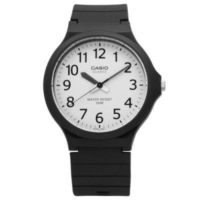 CASIO 卡西歐 經典耐看設計橡膠腕錶-白色 MW-240-7B 42mm