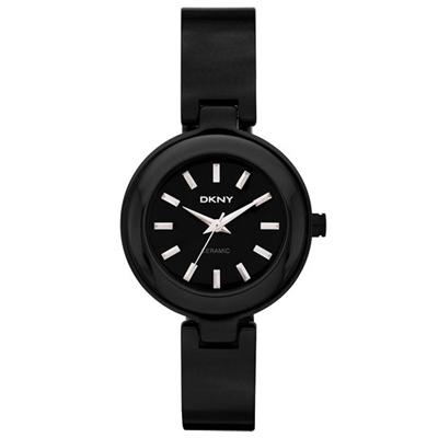 DKNY 魅力潮流時尚陶瓷女錶(NY8549)-黑/30mm