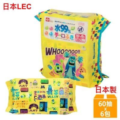 日本LEC 迪士尼怪獸電力公司-口手專用純水99%濕紙巾-60抽x6包/組