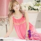 睡衣 大尺碼 蕾絲繡花冰絲細肩帶連身裙睡衣(珊瑚紅) SexyMeteor