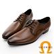 GEORGE 喬治皮鞋 經典系列 真皮素面後跟壓紋綁帶紳士鞋 -棕 product thumbnail 1