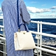 【IBAOBAO愛包包】ADOLE-ADay皮革斜背包/米帆布包+藍色提把 product thumbnail 1