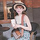 ANNA DOLLY 格紋斜背包 簡約駝