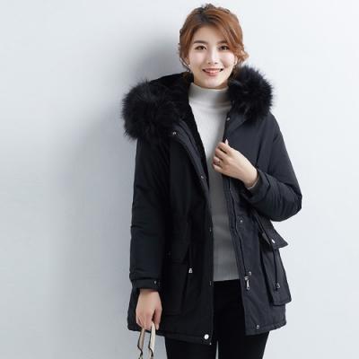 2F韓衣-韓系中大碼腰間抽繩連帽內毛裏保暖外套-秒