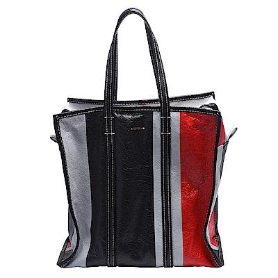 BALENCIAGA Bazar Shopper小羊皮多彩皮革拼接手提/肩背購物包(中黑)