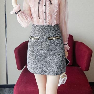 設計所在Lady-高腰格子修身包臀A字短裙(S-XL可選)