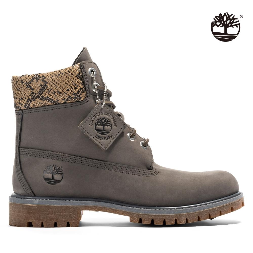Timberland 男款中灰色磨砂革配蛇紋六吋靴|A2HHZ