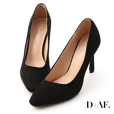D+AF 美腿時代.素面絨料尖頭高跟鞋*黑