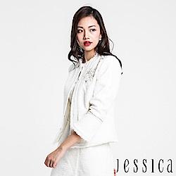 JESSICA - 肩部刺繡鑽飾下襬抽鬚圓領外套