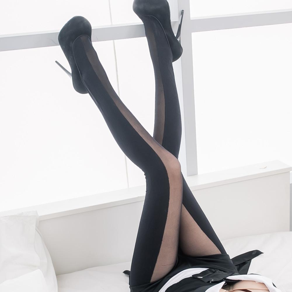 三雙入 連身褲襪 台灣製大直紋深淺純黑立體長腿襪美腿絲襪 流行E線