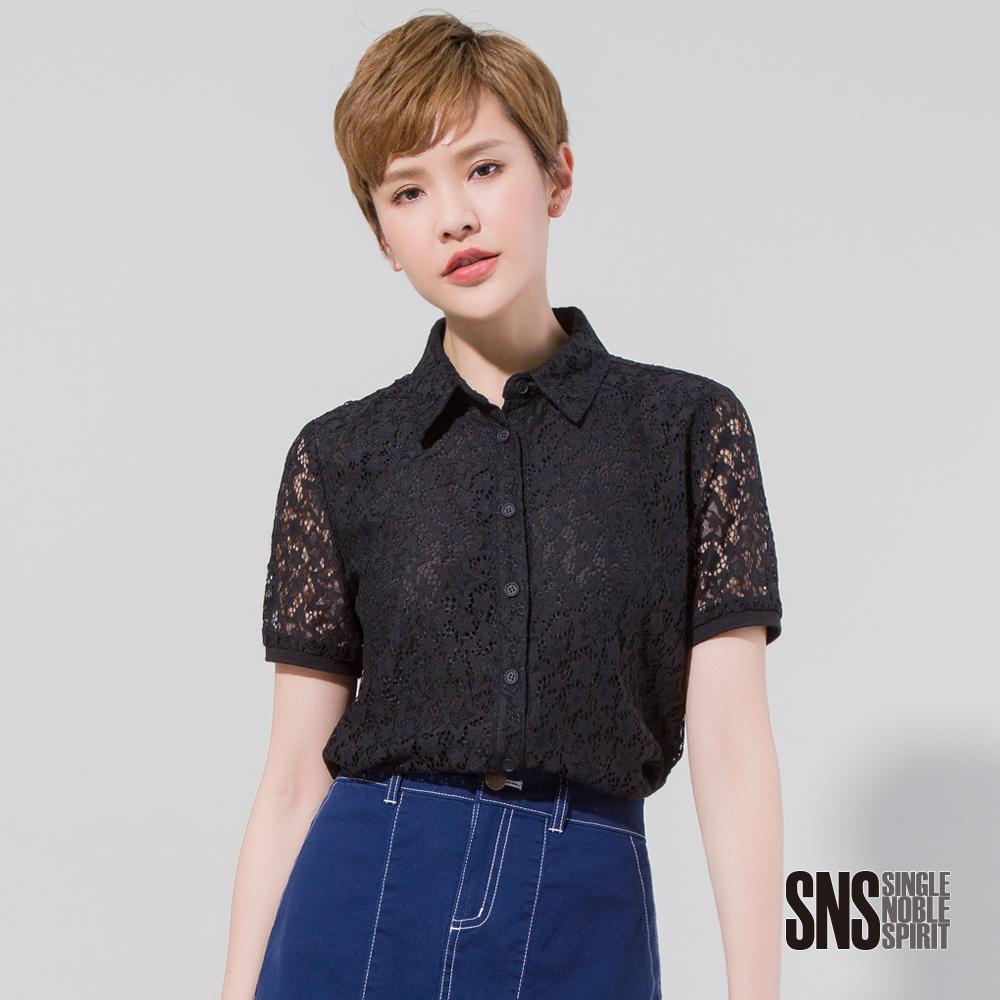 SNS 星星圖騰縷空蕾絲短袖襯衫(2色)