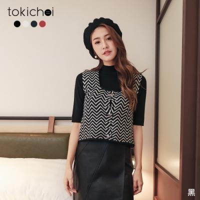 東京著衣 法式浪漫滿版線條排釦多色小背心/上衣(共四色)