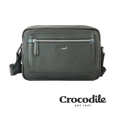 Crocodile 鱷魚皮件 Match 2.0系列 荔紋 橫式斜背包(S) 側背包-0104-09202-黑咖兩色
