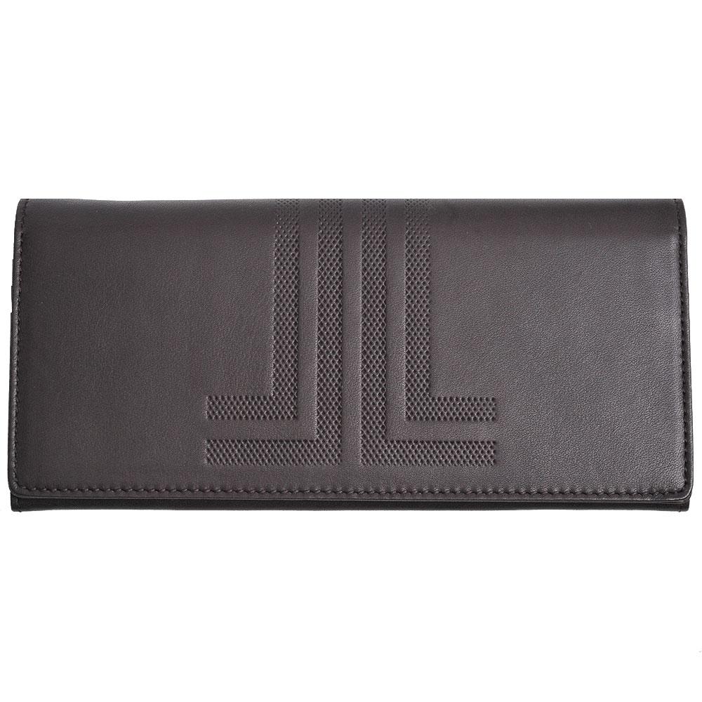 LANVIN 品牌經典大LOGO圖騰牛皮對折拉鍊零錢長夾(深咖啡)