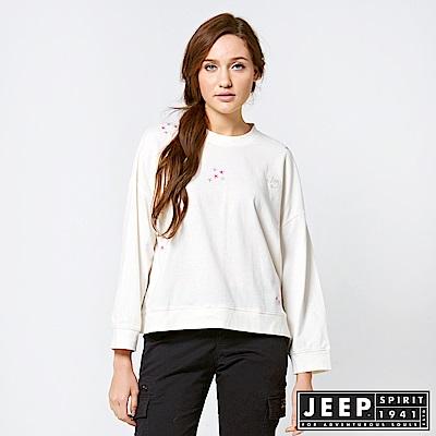 JEEP 女裝 甜美落肩短版長袖TEE 白色