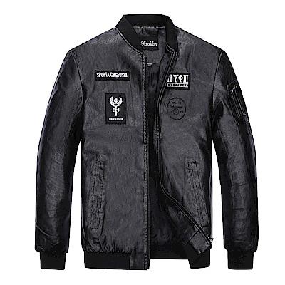 BuyGlasses 帥氣騎士布標皮革外套