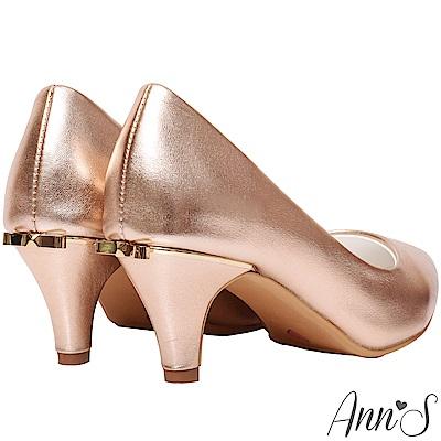 Ann'S金屬色調後跟金立體小蝴蝶尖頭低跟包鞋-玫瑰金(版型偏小)