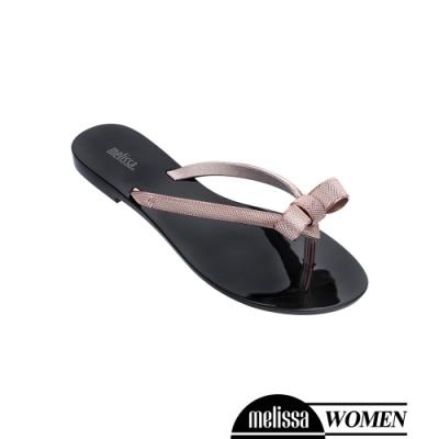 Melissa 金屬蝴蝶結質感涼拖鞋-黑
