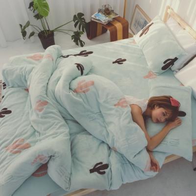 BUHO 極柔暖法蘭絨(6x7尺)標準雙人兩用被套毯(薄荷綠洲)