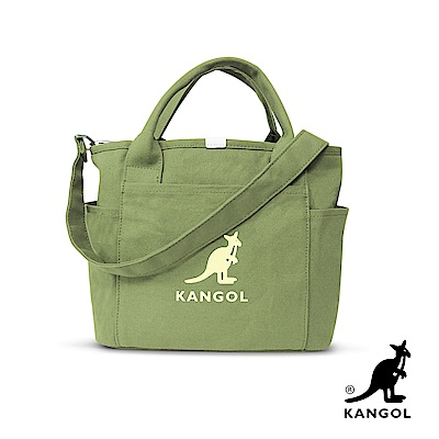 KANGOL 韓版玩色-帆布手提/斜背托特包-草綠 KGC1216