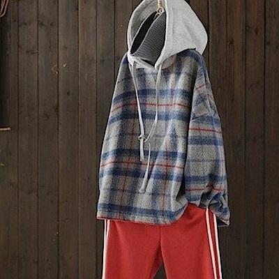 時尚假兩件呢子上衣寬鬆毛呢格子連帽衛衣-設計所在