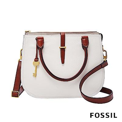 FOSSIL RYDER 真皮圓弧手提/側背兩用包-米白/咖啡