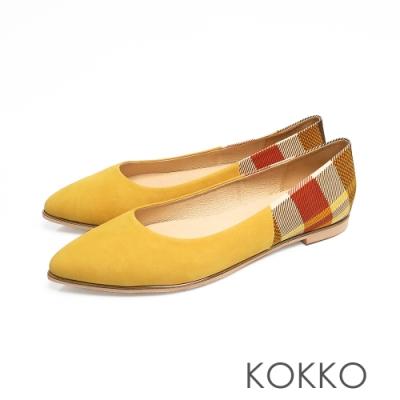KOKKO -風和日麗麂皮拼接小尖頭平底鞋-乳酪黃