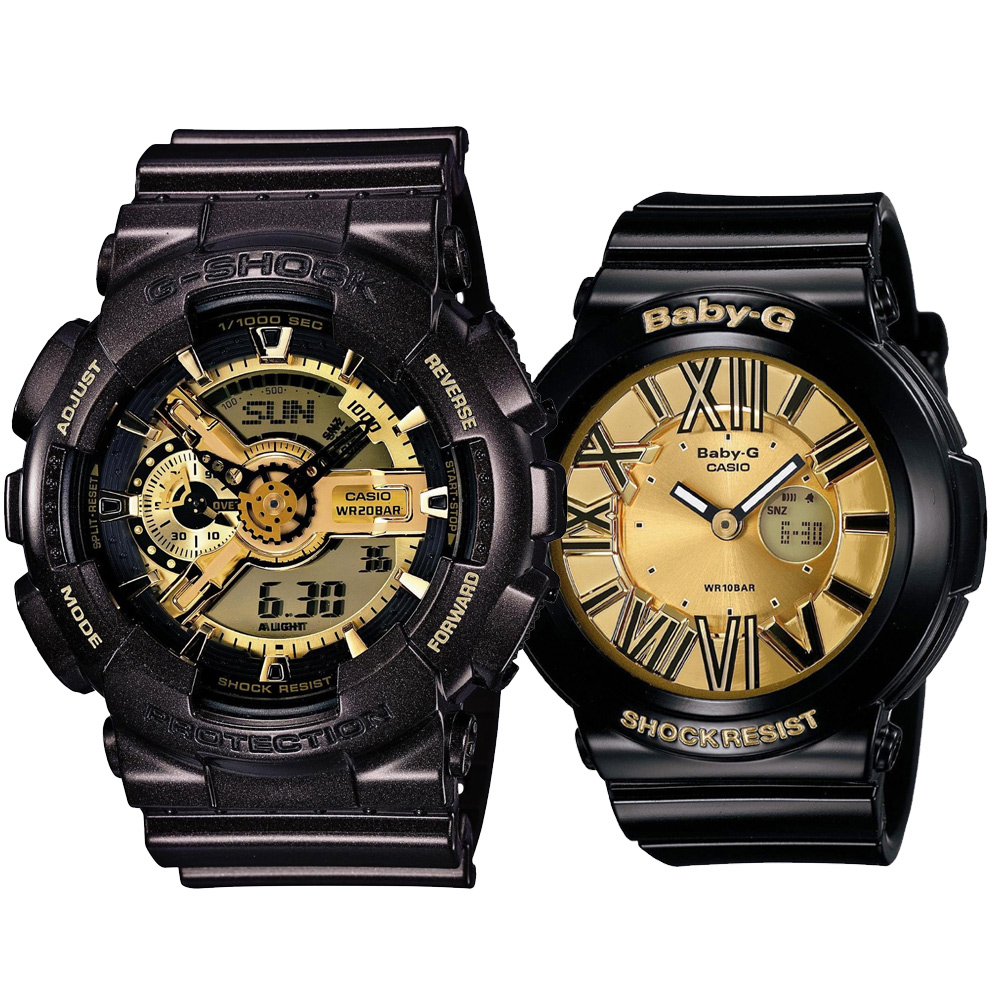 G-SHOCK x BABY-G 組合狂派變形金剛黑金重型休閒錶-黑x金