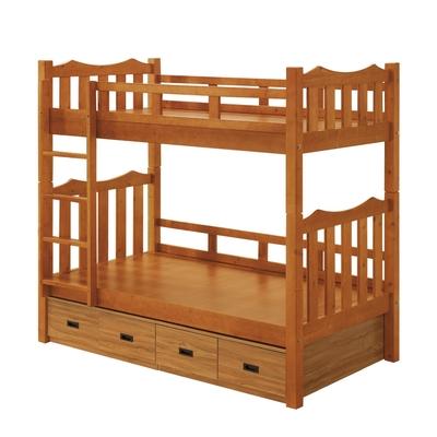 文創集 巴威3.5尺單人實木雙層床台(雙層床台+床底收納櫃)-111x202x190cm免組