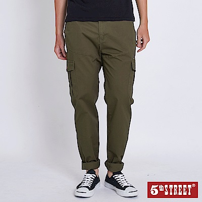 5th STREET 潮系列工作色褲-男-墨綠