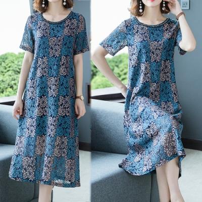 【韓國K.W.】時尚潮流漫步夏日蕾絲提花洋裝