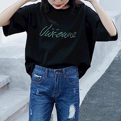 HERA 赫拉 原宿風百搭字母刺繡T恤